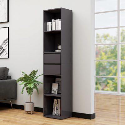 Ormarić za knjige visoki sjaj sivi 36 x 30 x 171 cm od iverice