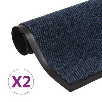 Otirači za prašinu 2 kom pravokutni čupavi 40 x 60 cm plavi