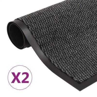Otirači za prašinu 2 kom pravokutni čupavi 60 x 90 cm antracit