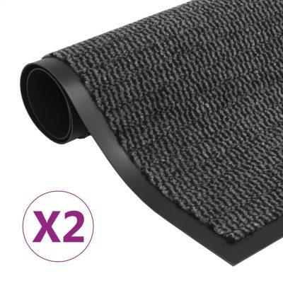 Otirači za prašinu 2 kom pravokutni čupavi 80 x 120 cm antracit