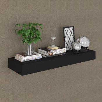 Plutajuća zidna polica s ladicom crna 80 x 25 x 8 cm