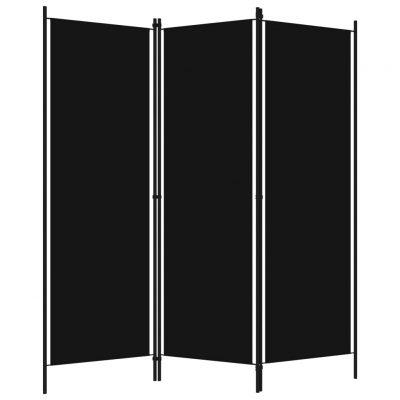 Sobna pregrada s 3 panela crna 150 x 180 cm