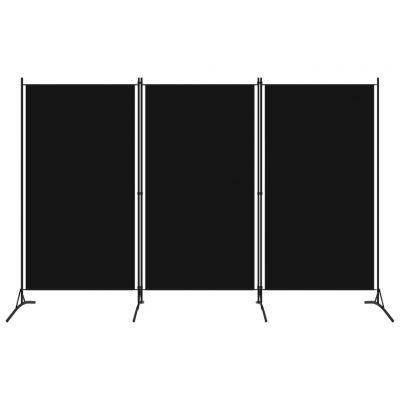Sobna pregrada s 3 panela crna 260 x 180 cm