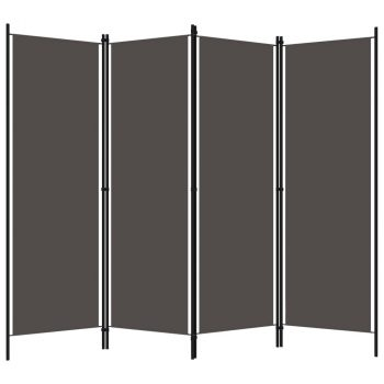 Sobna pregrada s 4 panela antracit 200 x 180 cm