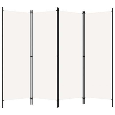 Sobna pregrada s 4 panela bijela 200 x 180 cm