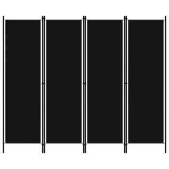 Sobna pregrada s 4 panela crna 200 x 180 cm