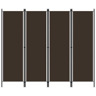 Sobna pregrada s 4 panela smeđa 200 x 180 cm