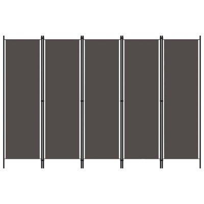 Sobna pregrada s 5 panela antracit 250 x 180 cm