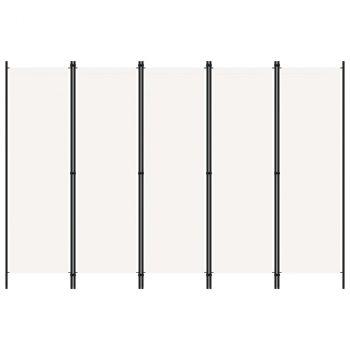 Sobna pregrada s 5 panela bijela 250 x 180 cm