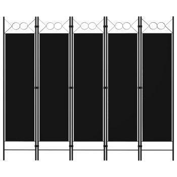 Sobna pregrada s 5 panela crna 200 x 180 cm