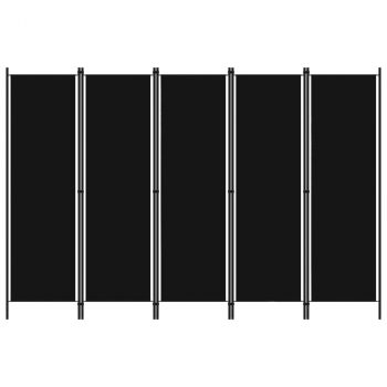 Sobna pregrada s 5 panela crna 250 x 180 cm