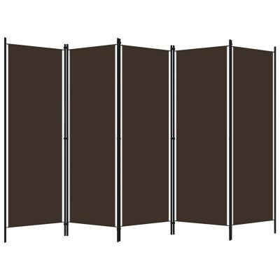 Sobna pregrada s 5 panela smeđa 250 x 180 cm