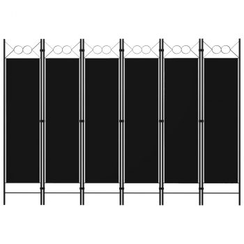 Sobna pregrada sa 6 panela crna 240 x 180 cm