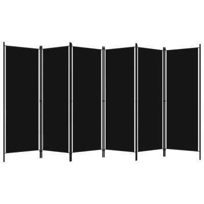 Sobna pregrada sa 6 panela crna 300 x 180 cm