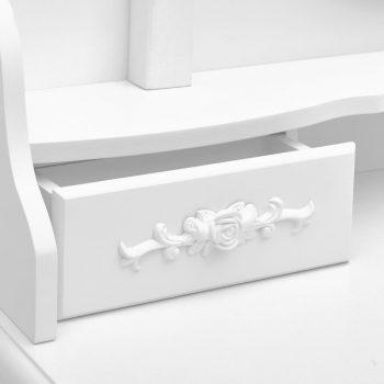 Toaletni stolić sa stolcem bijeli 75x69x140 cm drvo paulovnije