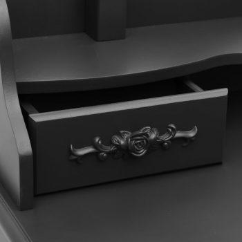 Toaletni stolić sa stolcem crni 75x69x140 cm od drva paulovnije