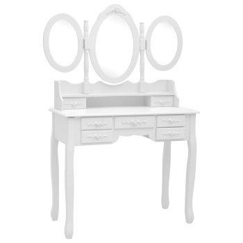 Toaletni stolić sa stolcem i trostrukim ogledalom bijeli