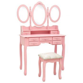 Toaletni stolić sa stolcem i trostrukim ogledalom ružičasti