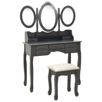 Toaletni stolić sa stolcem i trostrukim ogledalom sivi
