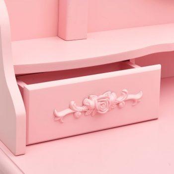 Toaletni stolić sa stolcem rozi 75x69x140 cm od drva paulovnije