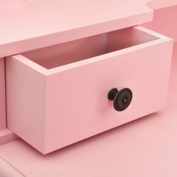 Toaletni stolić sa stolcem rozi 80x69x141 cm drvo paulovnije
