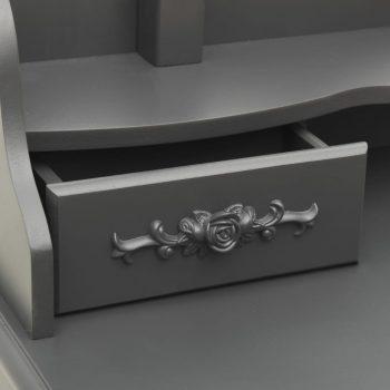 Toaletni stolić sa stolcem sivi 75x69x140 cm od drva paulovnije
