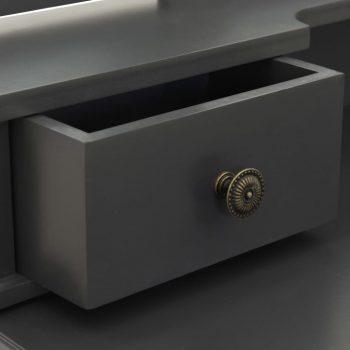 Toaletni stolić sa stolcem sivi 80x69x141 cm od drva paulovnije