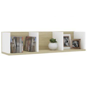 Zidna polica za CD-ove bijela i boja hrasta 75x18x18 cm iverica