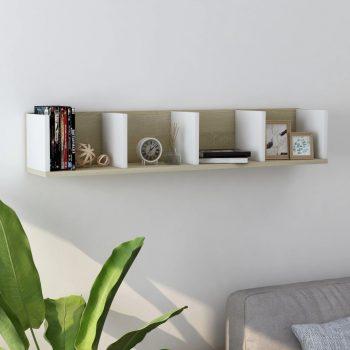 Zidna polica za CD-ove bijela i hrast 100 x 18 x 18 cm iverica