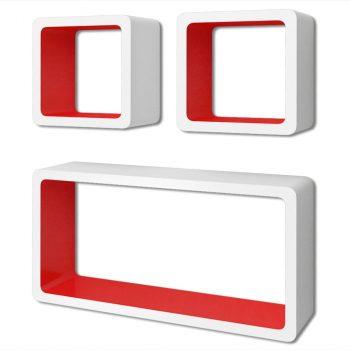 Zidne kockaste police 6 kom bijelo-crvene