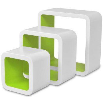 Zidne kockaste police 6 kom bijelo-zelene