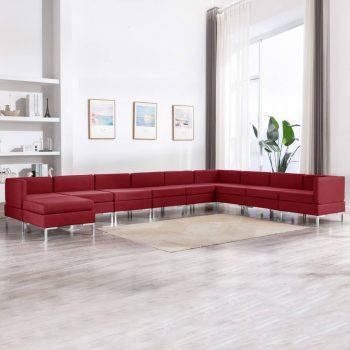10-dijelni set sofa od tkanine crvena boja vina