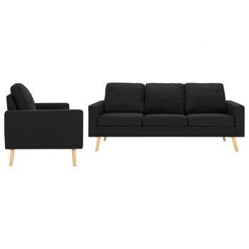2-dijelni set sofa od tkanine crni