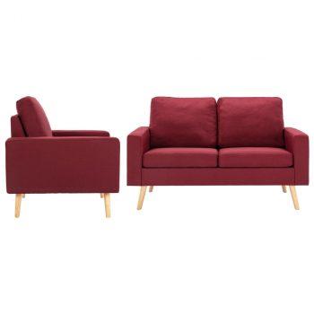 2-dijelni set sofa od tkanine crvena boja vina