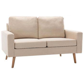 2-dijelni set sofa od tkanine krem
