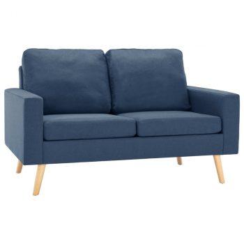 2-dijelni set sofa od tkanine plavi