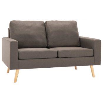 2-dijelni set sofa od tkanine smeđe-sivi