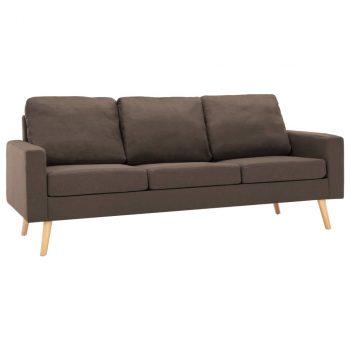 2-dijelni set sofa od tkanine smeđi
