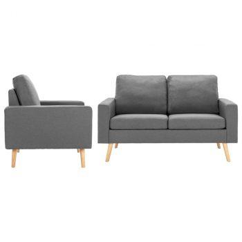 2-dijelni set sofa od tkanine svjetlosivi