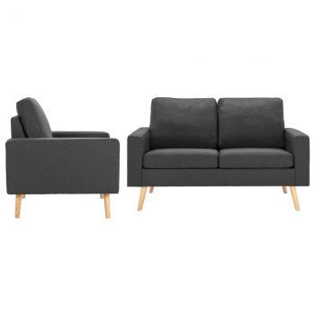 2-dijelni set sofa od tkanine tamnosivi