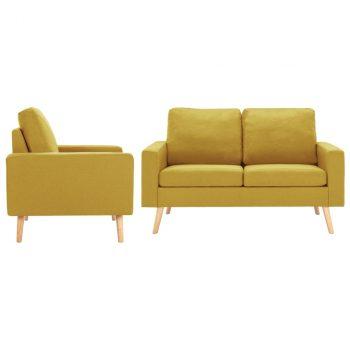 2-dijelni set sofa od tkanine žuti