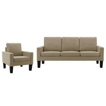 2-dijelni set sofa od umjetne kože boja cappuccina