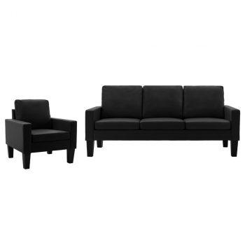 2-dijelni set sofa od umjetne kože crni