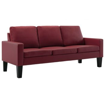 2-dijelni set sofa od umjetne kože crvena boja vina