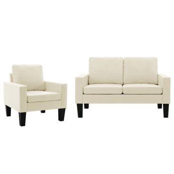 2-dijelni set sofa od umjetne kože krem