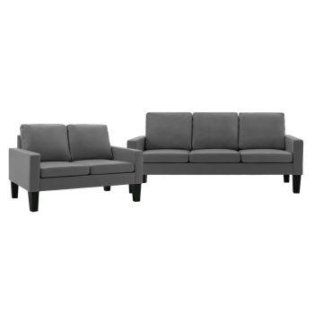 2-dijelni set sofa od umjetne kože sivi
