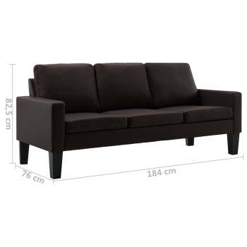2-dijelni set sofa od umjetne kože smeđi