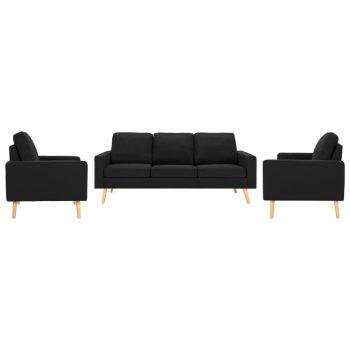 3-dijelni set sofa od tkanine crni