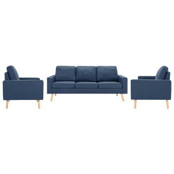 3-dijelni set sofa od tkanine plavi