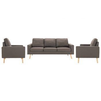 3-dijelni set sofa od tkanine smeđe-sivi
